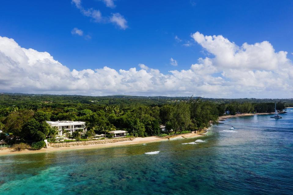 Aerial shot of Alaya Villa on Barbados' West Coast