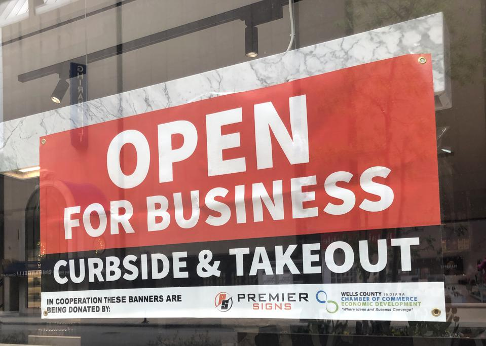 Open For Business, Curbside Pick Up banner, Chicago, Illinois...