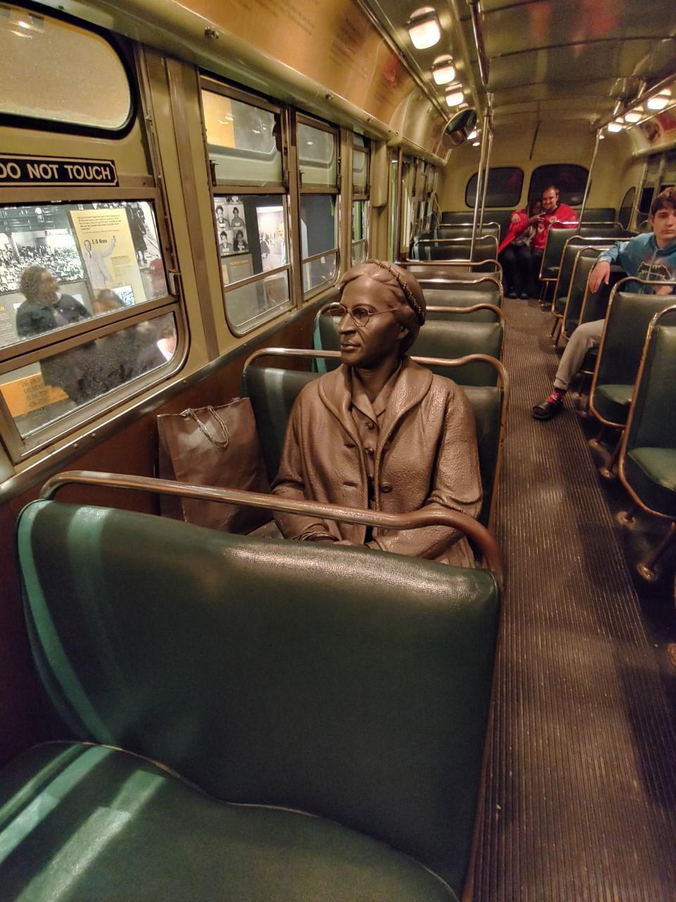 Visitors of this exhibit hear a recording of the driver admonishing Rosa Parks to get up and move to the back of the bus.