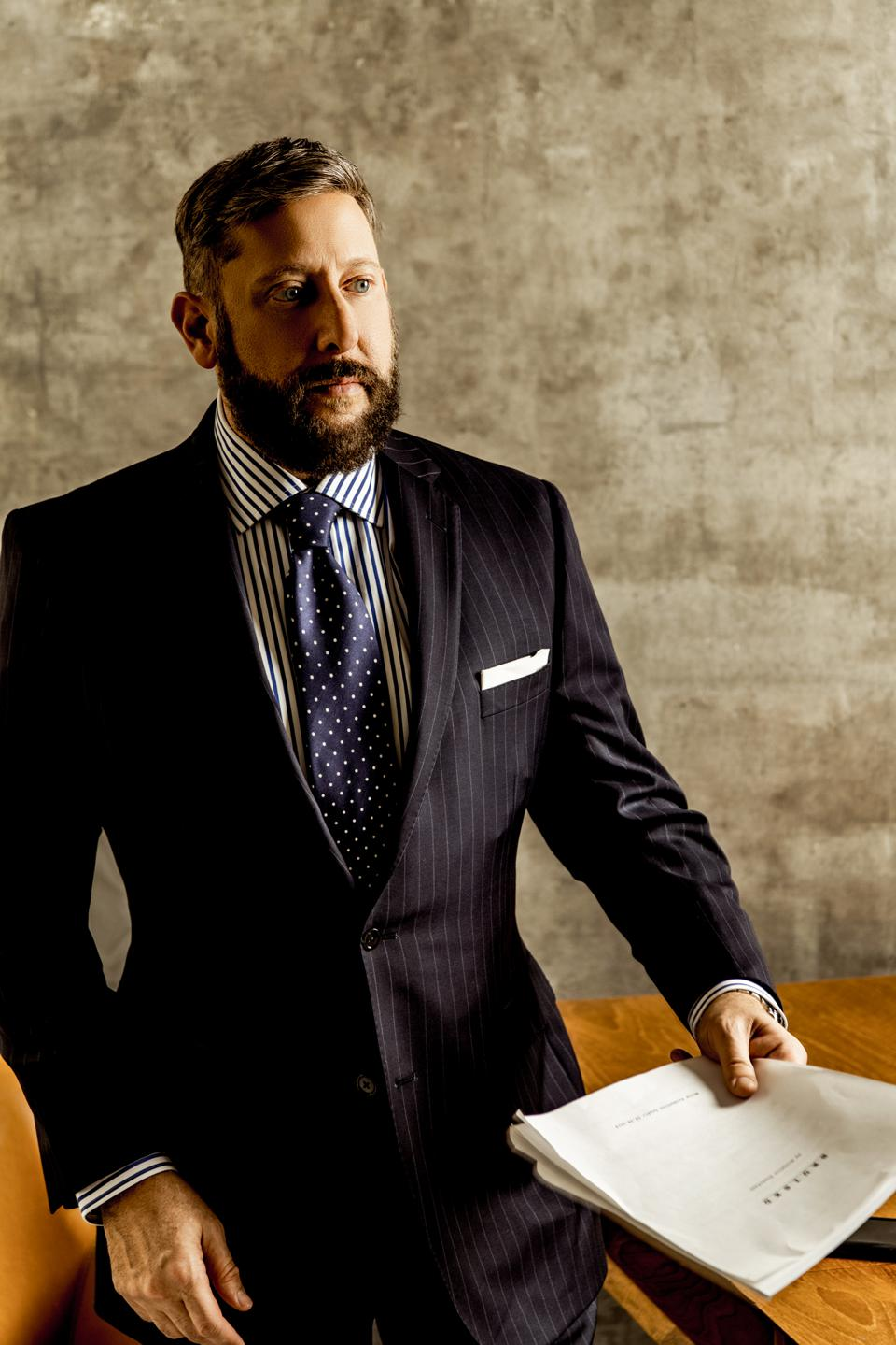 @paulstuartny -Blue super 120 wool pinstriped suit,