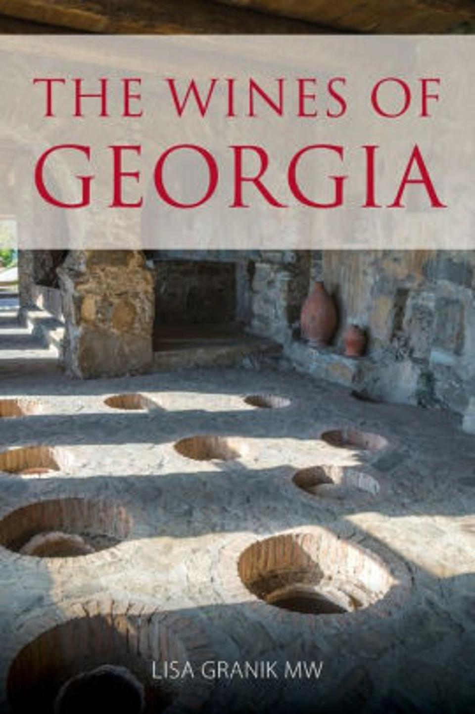 Text on book cover: The Wines of Georgia abov image of wine cellar