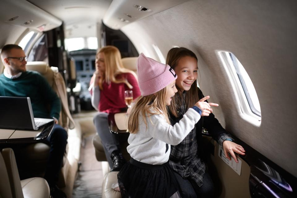 kids on a private jet