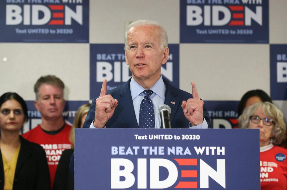 Democratic Presidential Candidate Joe Biden Delivers His Plan To Curb Gun Violence While Campaigning In Las Vegas
