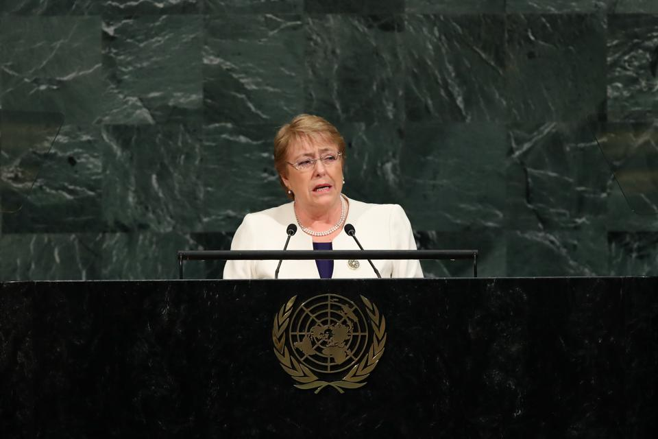 Michelle Bachelet addressing the United Nations General Assembly at UN Headquarters in New York City in 2017.