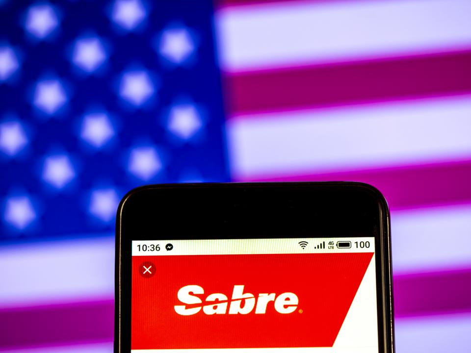 Sabre Corporation logo seen displayed on a smart phone