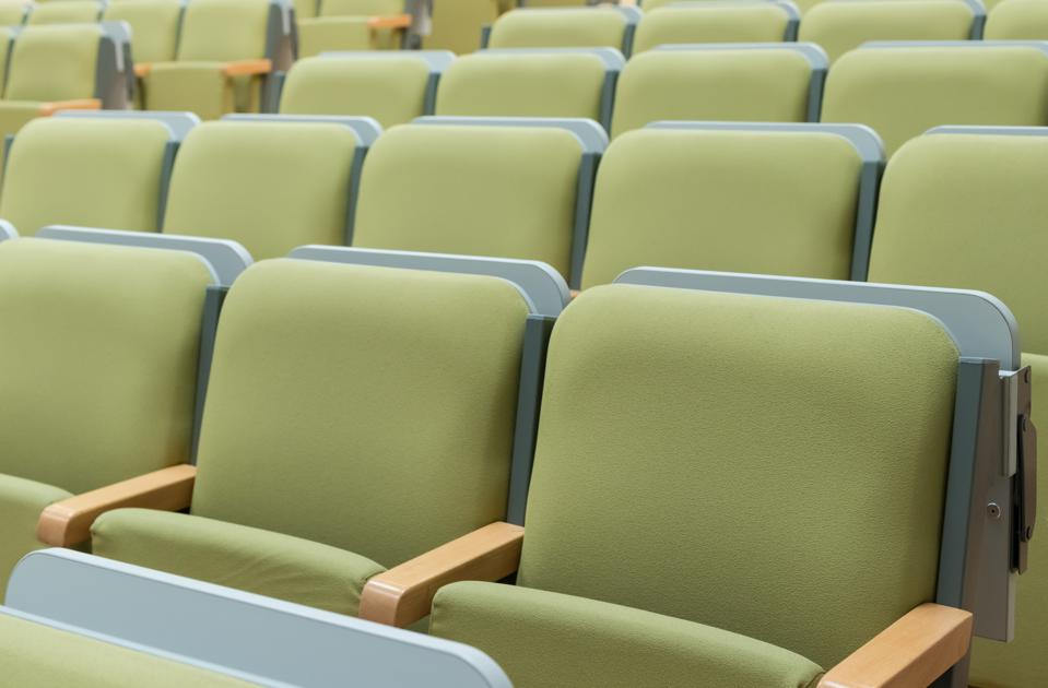 Lecture hall. Empty chairs.