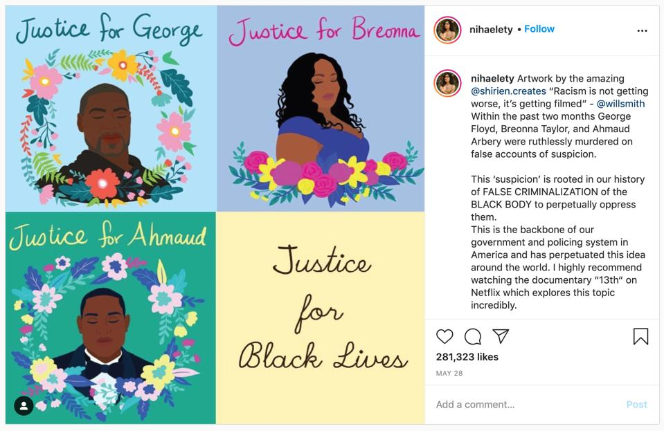 Artist Niha Elety calling for Justice for Black Lives