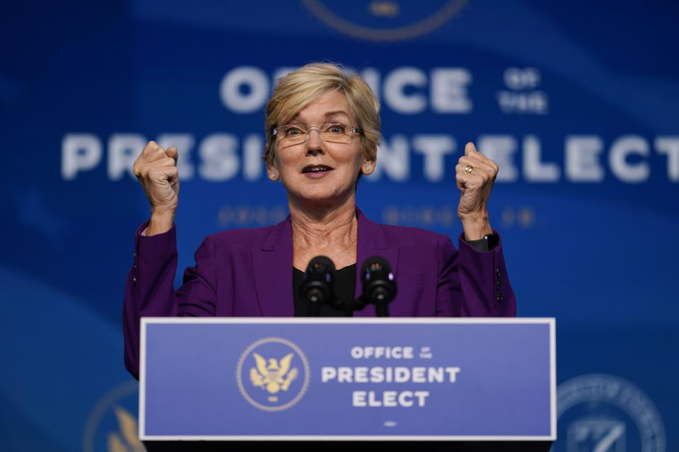 Jennifer Granholm, President-elect Joe Biden's pick to head the Department of Energy, speaking at the podium at the Queen Theater in Wilmington, Del.