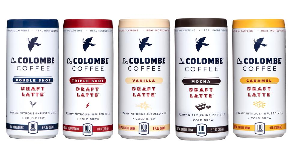 Cans of La Colombe's draft lattes