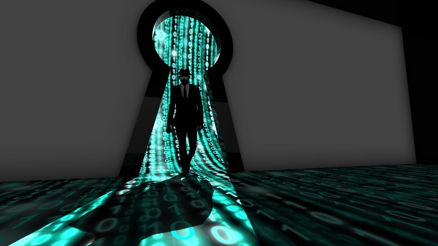 Représentation artistique d'un pirate informatique d'élite entrant dans un trou de serrure de salle de données