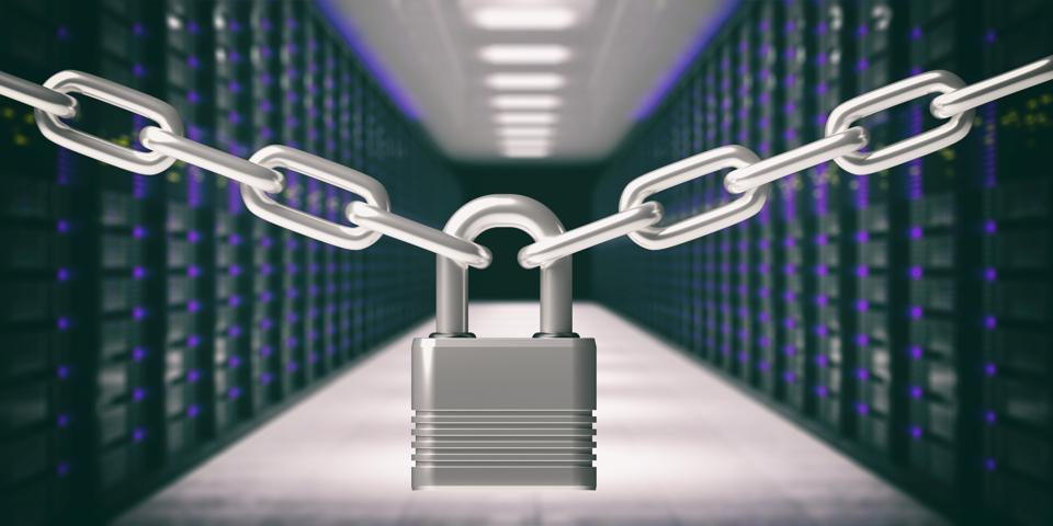 Padlock closed and chains, data center background.  3d illustration