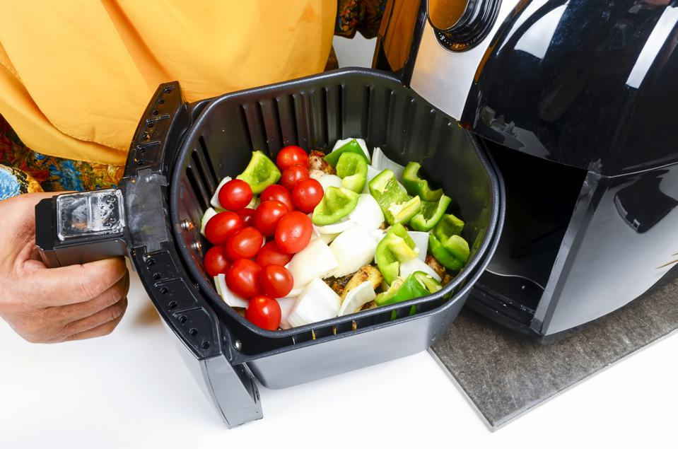 Seasoned vegetable air fryer cooked for healthier oil free foods.