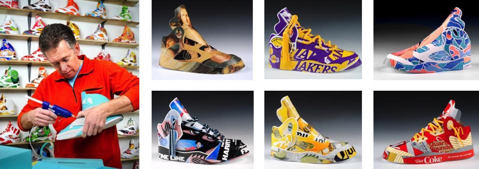 Andy Yoder working on shoe sculptures for ″Overboard″ exhibition at The Brattleboro Museum & Art Center.