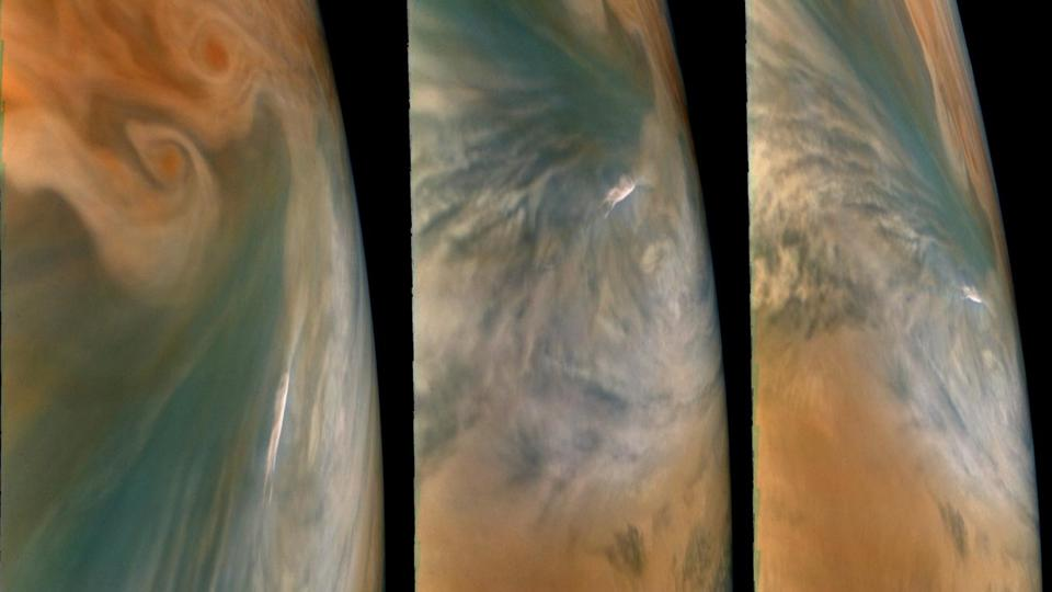 These images from NASA's Juno mission show three views of a Jupiter ″hot spot″ - a break in Jupiter's cloud deck that provides a glimpse into the planet's deep atmosphere. The pictures were taken by the JunoCam imager during the spacecraft's 29th close flyby of the giant planet on Sept. 16, 2020.