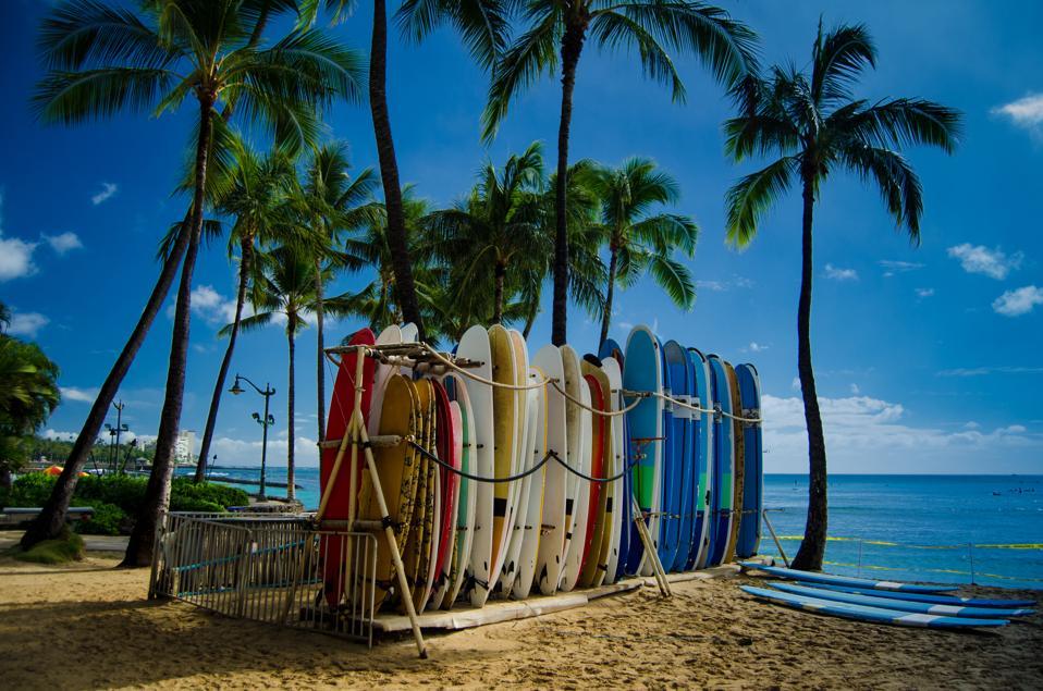 Surfboards on Waikiki beach