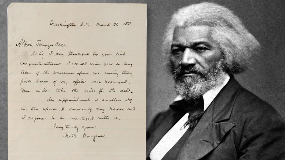 Frederick Douglass one-page handwritten letter to attorney and pioneering civil rights activist Albion Tourgee.