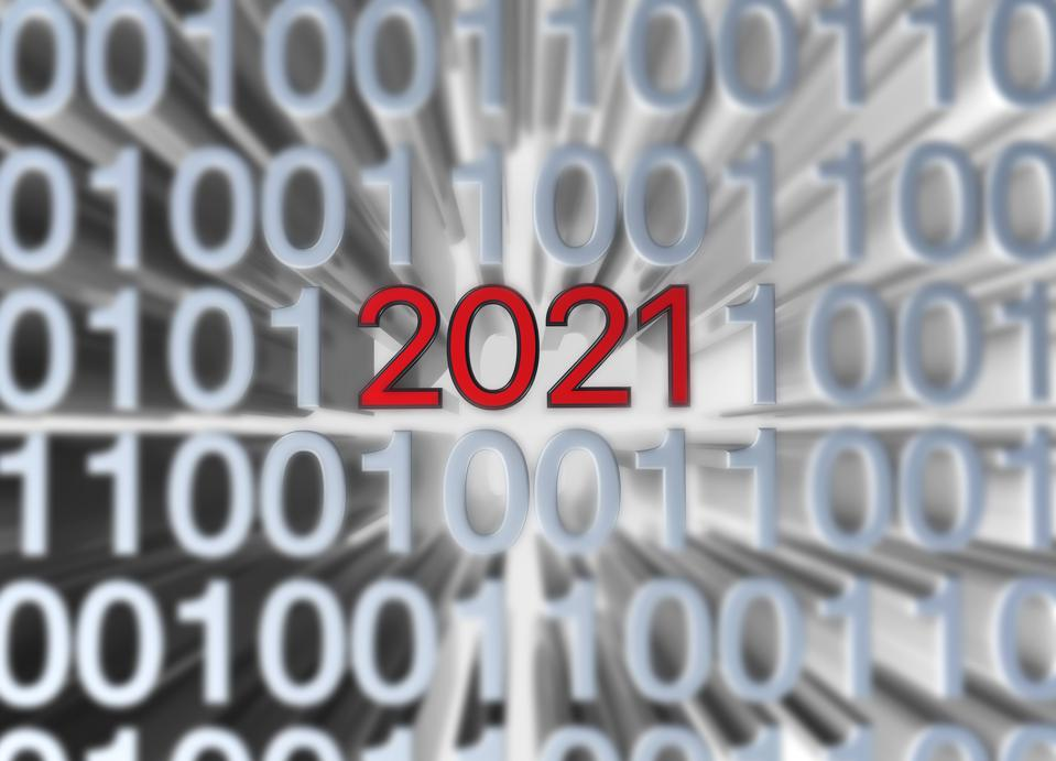 2021 Text with binary code