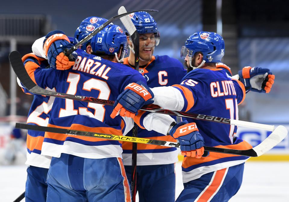 The Islanders after a goal in Game 6 of the Eastern Conference finals vs. the Lightning.