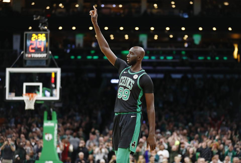 Tacko Fall of the Celtics during a 2019 game against the Hornets.