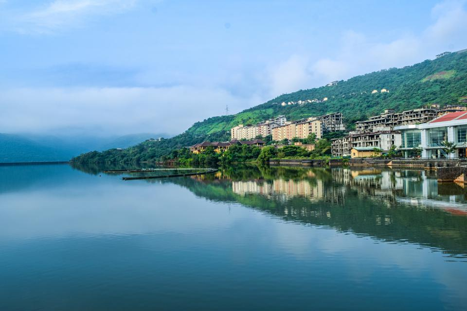 Lake view of beautiful Lavasa city in pune, india
