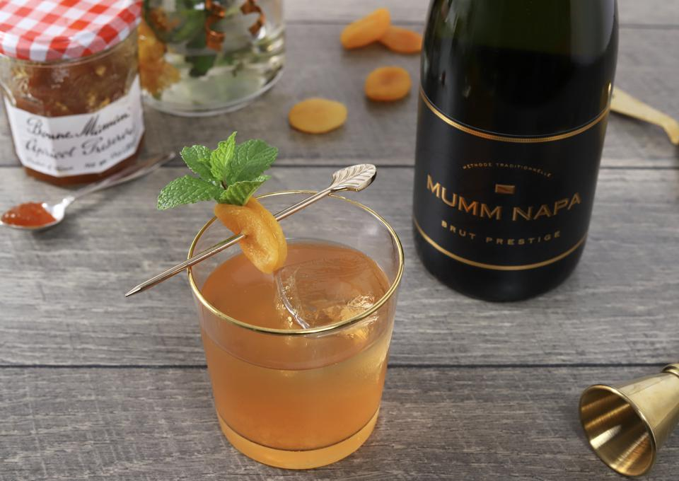 A simple cocktail made with good quality apricot preserves and Mumm Napa Brut Prestige.