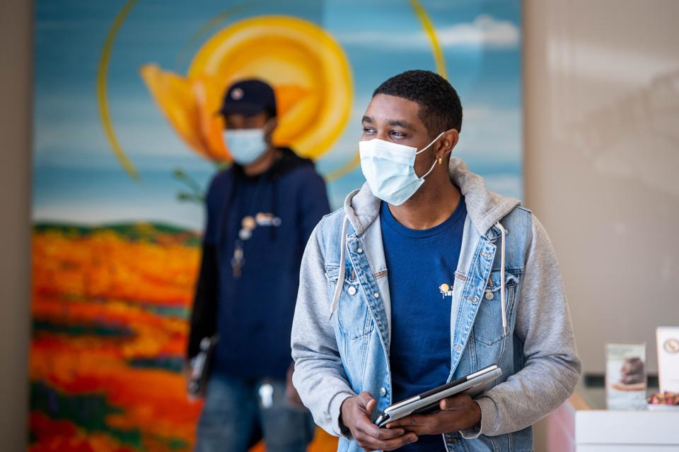 Waiting for customers at a cannabis shop in California during the COVID-19 pandemic