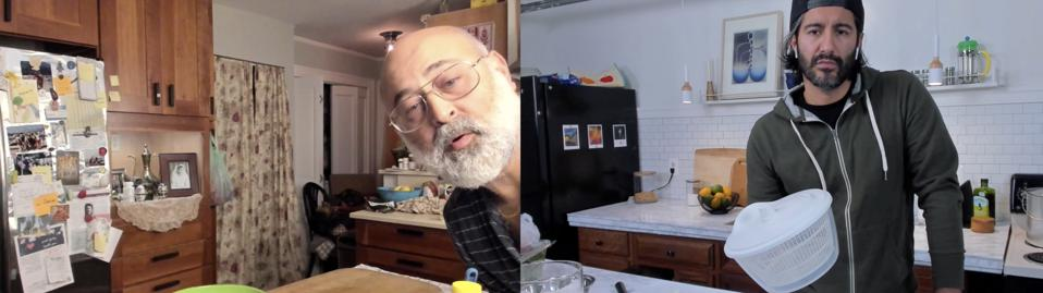 Father and son cook together on Zoom.