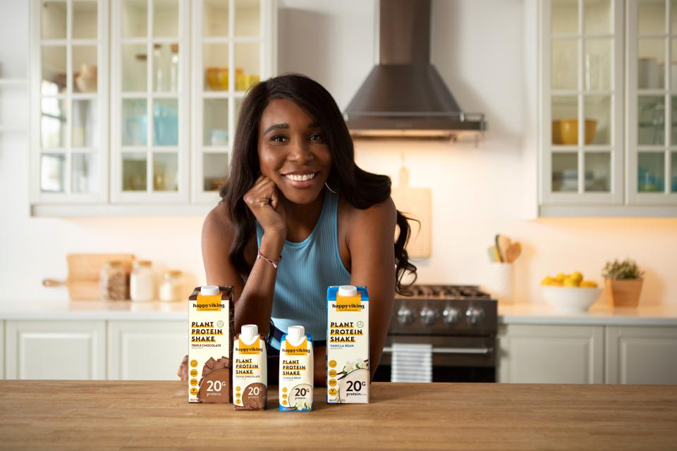 Tennis champion Venus Williams, co-founder of Happy Viking plant-based protein shakes.