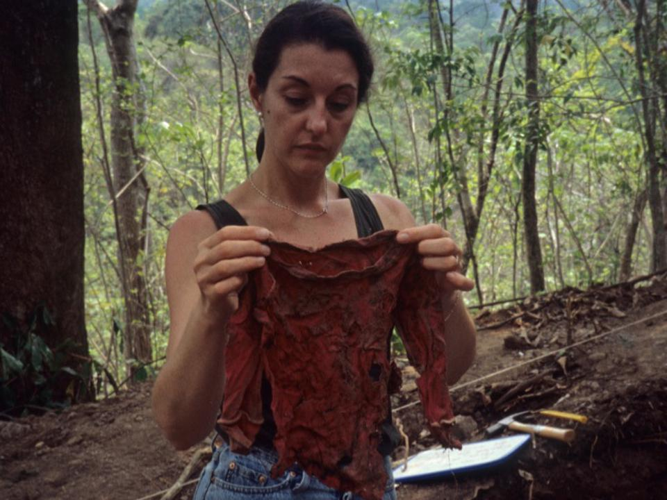 """mass killings in El Mozote (El Salvador). She spent three months exhuming some 143 human remains.  """"Of those, 136 were children under 12"""