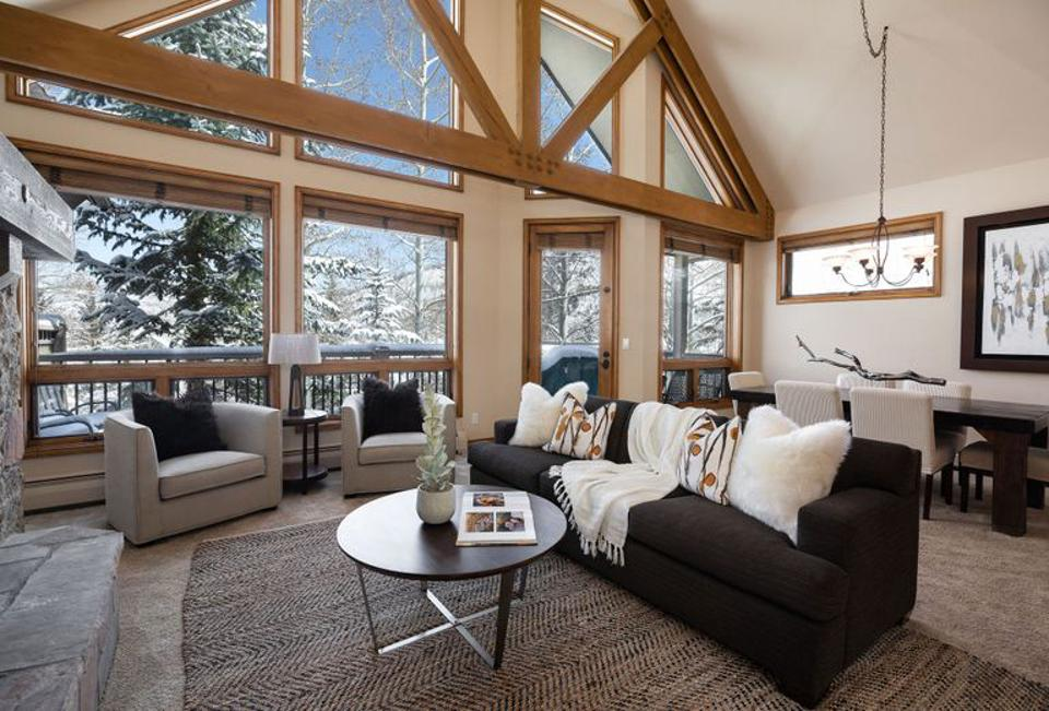 The living room in a mountain retreat.