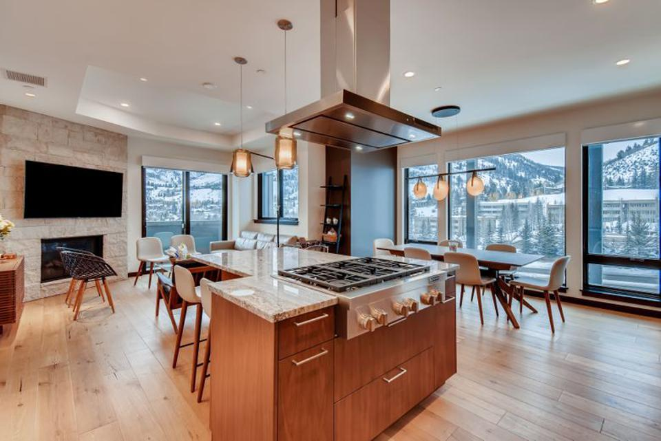 An open-concept kitchen and living room.