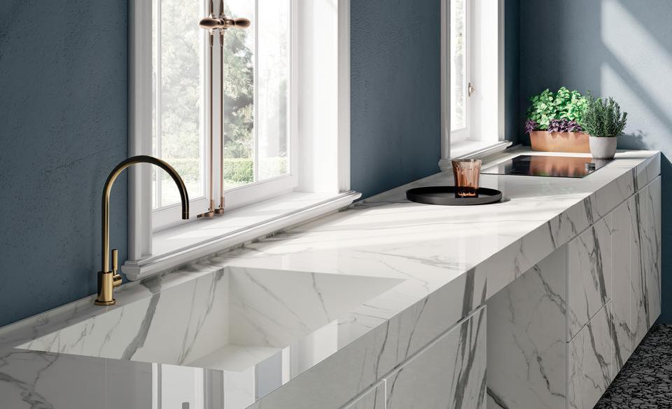 Marble-look gray and white porcelain slab kitchen countertops