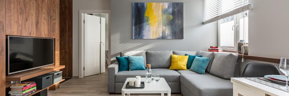 Living room with corner sofa