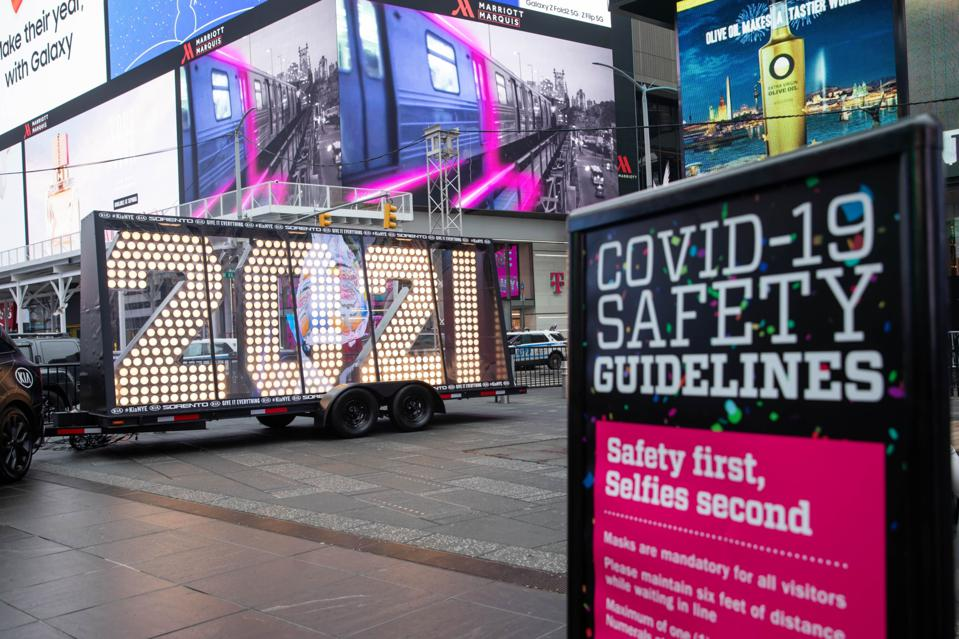 Times Square Prepares For Its Virtual New Year's Eve Celebration