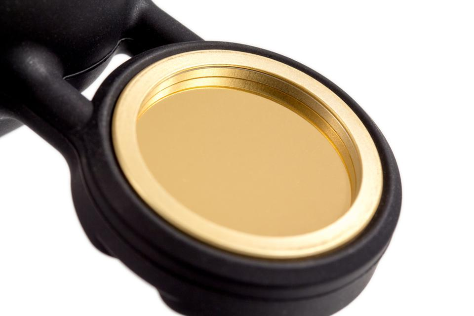 Close up of gold diaphragm from a Sennhesier MK4 condenser microphone