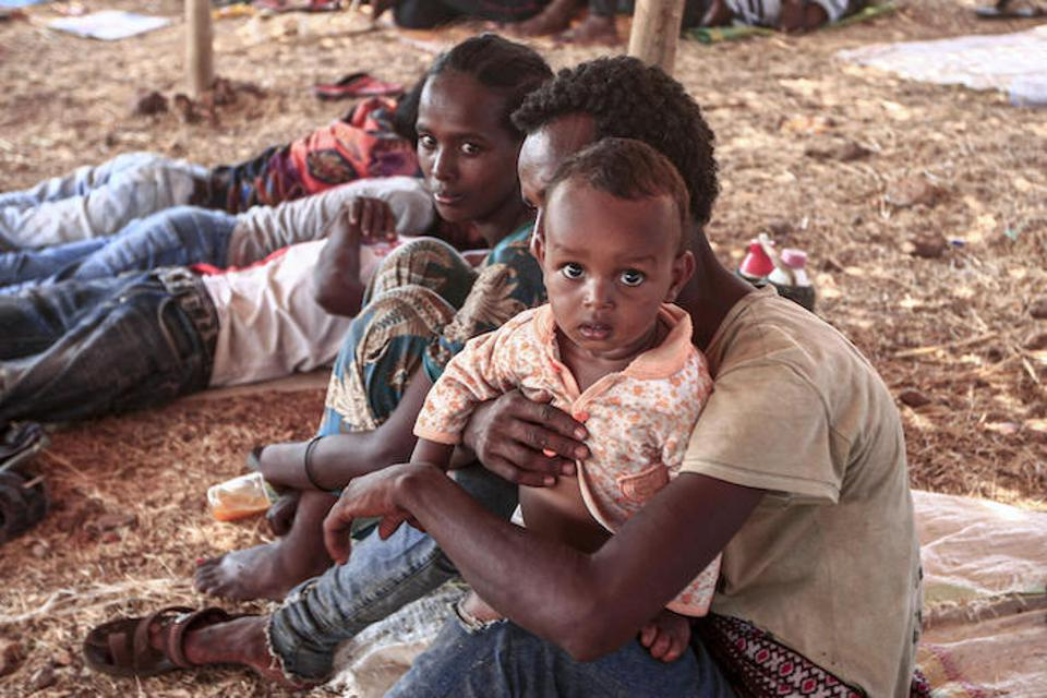 Refugees from Ethiopia's embattled Tigray region find shelter at the Um Raquba camp in Sudan's eastern Gedaref province, where UNICEF is providing safe water and sanitation, health and nutrition services and other support.