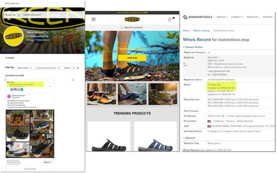 screen shots of fake ecommerce site