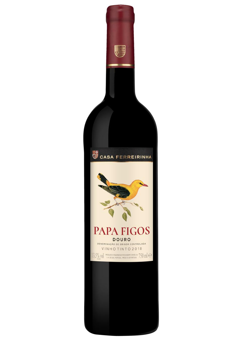 a bottle of red wine made in the Douro Valley in Portugal with local grapes