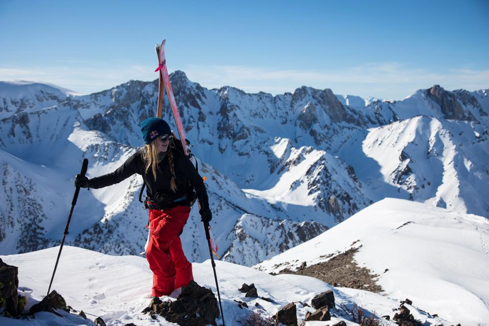 Michelle Parker backcountry skiing in the Sierra Nevada Mountains near Mammoth Lakes, CA