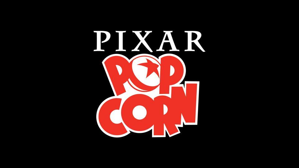 Pixar Popcorn on a black background.