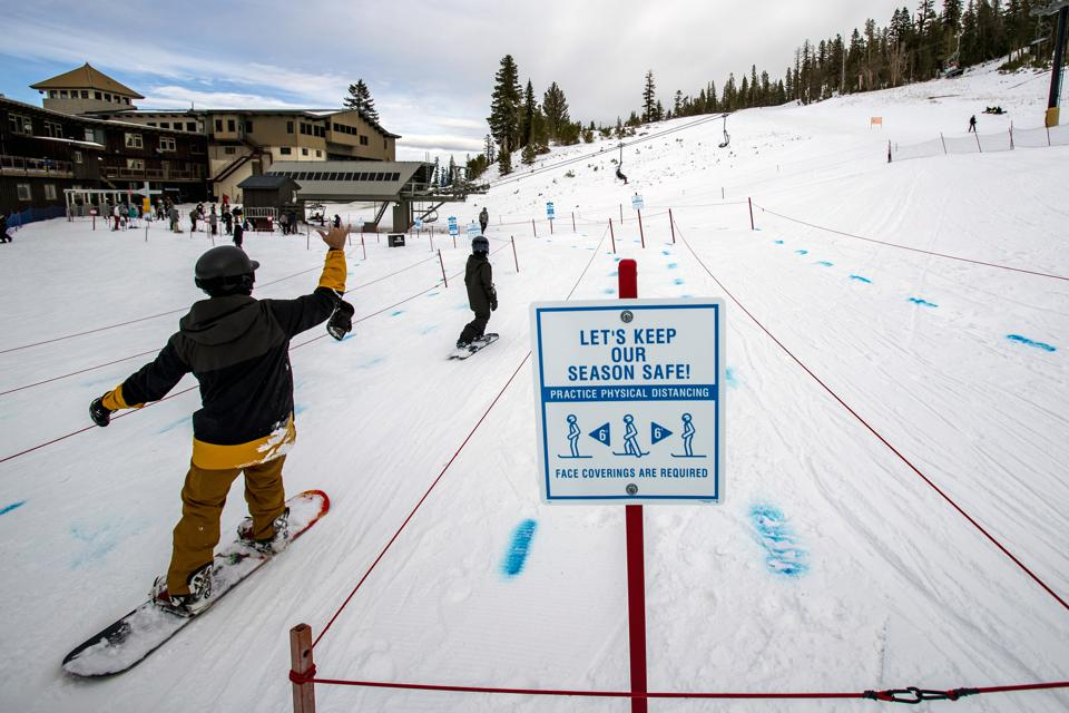 Winter sports during covid in Mammoth Lakes, CA.