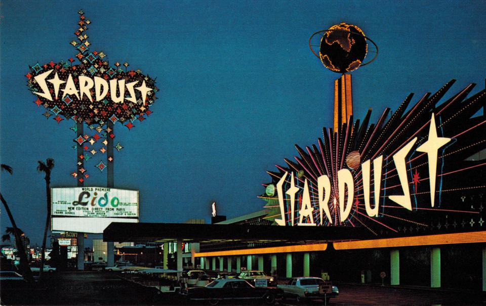 Stardust marquee on The Vegas Strip, hotspot for Elvis, etc., decades before implosion.