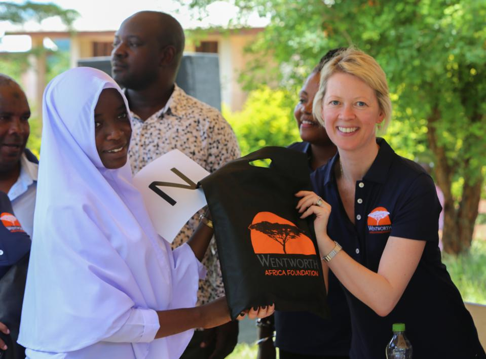 Wentworth Resources CEO Katherine Roe visits a Tanzanian school.