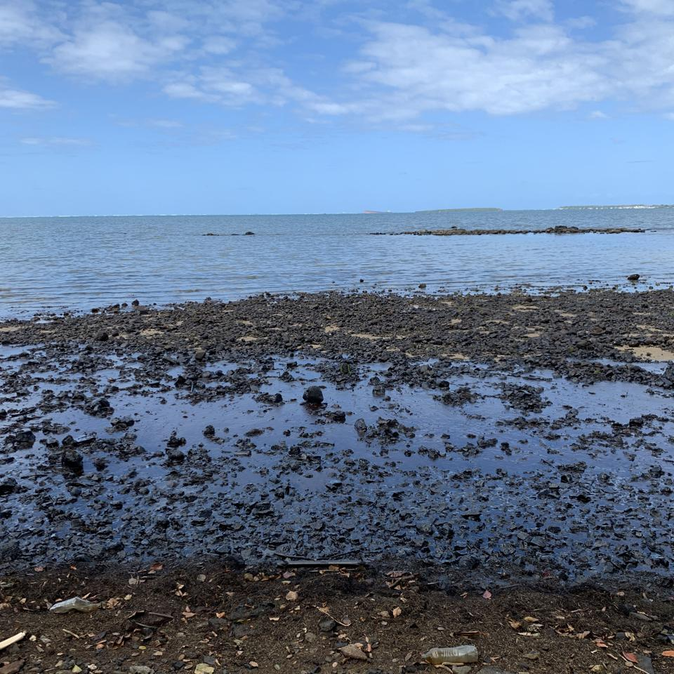 The usually golden beaches of South East Mauritius were completely saturated in dark oil by the afternoon of August 6.