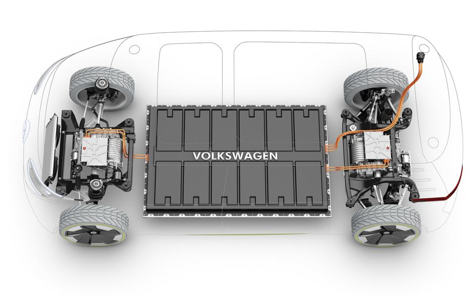 An e-car battery pack with the logo ″Volkswagen″ on it in between the front and back wheels, seen from above, with a drawn outline of a car on top.