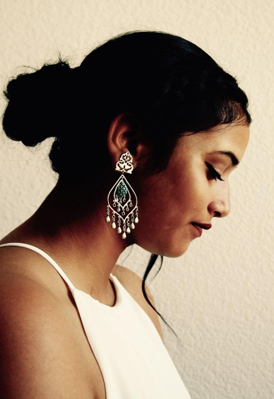 One of Lai's statement chandelier earrings.
