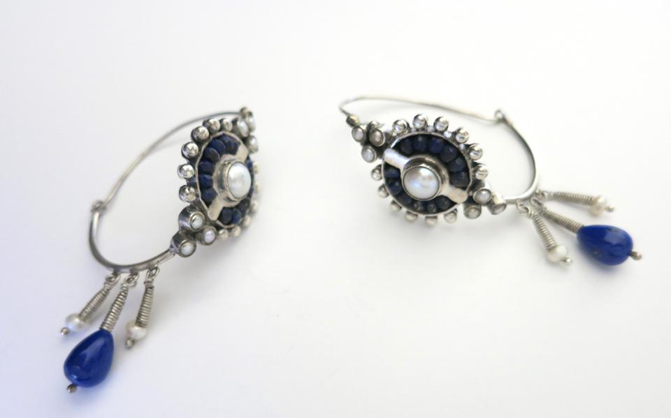 Lapis and pearl hoops.