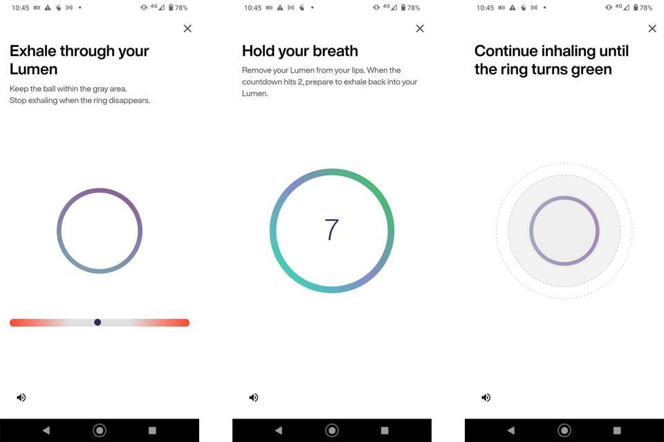 Screenshots from the Lumen app.