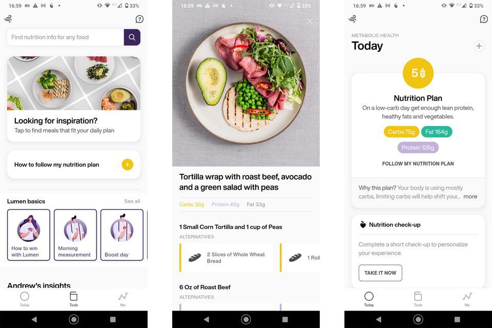 Screenshots from the Lumen app's frontend.