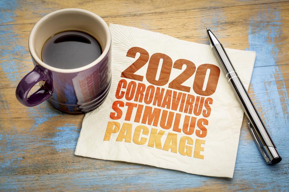 2020 coronavirus stimulus package word abstract